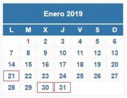 CALENDARIO DEL CONTRIBUYENTE. ENERO 2019