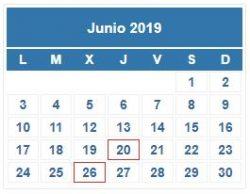 CALENDARIO DEL CONTRIBUYENTE. JUNIO 2019