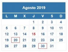 CALENDARIO DEL CONTRIBUYENTE. AGOSTO 2019