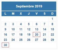 CALENDARIO DEL CONTRIBUYENTE. SEPTIEMBRE 2019