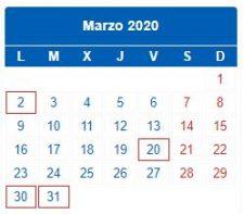 CALENDARIO DEL CONTRIBUYENTE. MARZO 2020