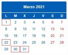 CALENDARIO DEL CONTRIBUYENTE. MARZO 2021