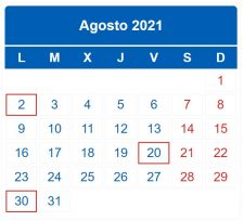 CALENDARIO DEL CONTRIBUYENTE. AGOSTO 2021