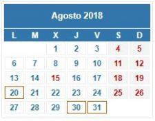 CALENDARIO DEL CONTRIBUYENTE. AGOSTO 2018